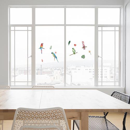 Stickers oiseaux exotiques perroquets collés sur une baie vitrée de salon