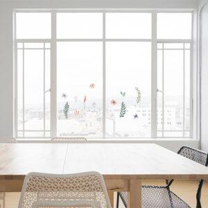 Set de 12 éléments déco herbier électrostatique pour décoration de fenêtres et vitres.