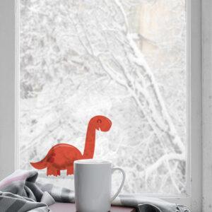 Dinosaures électrostatiques rouge pour décorer une fenêtre ou une surface vitrée dans une chambre d'enfant