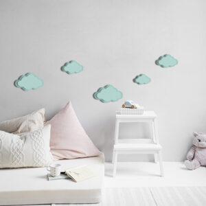 Autocollant décoration bleu Nuages 3D pour mur gris de chambre d'enfant