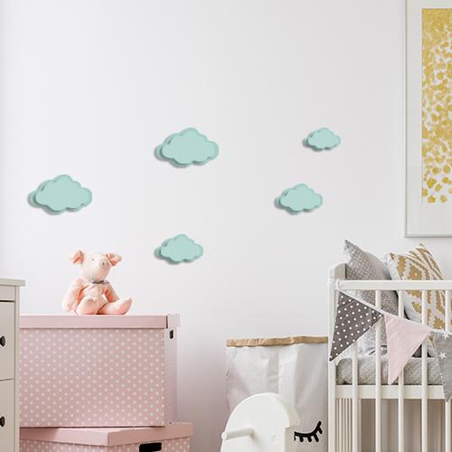 Adhésif Nuages 3D bleu sticker pour décoration de mur blanc de chambre d'enfant