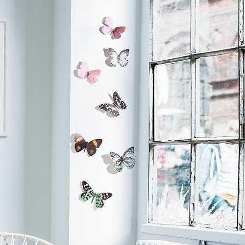Sticker représentant des papillons réalistes sur un mur blanc à côté d'une fenêtre