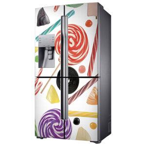 """Réfrigérateur américain avec sticker """"Bonbons"""""""