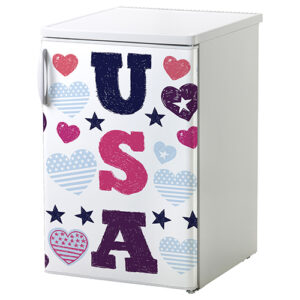 """Réfrigérateur de petite taille avec sticker """"USA"""""""