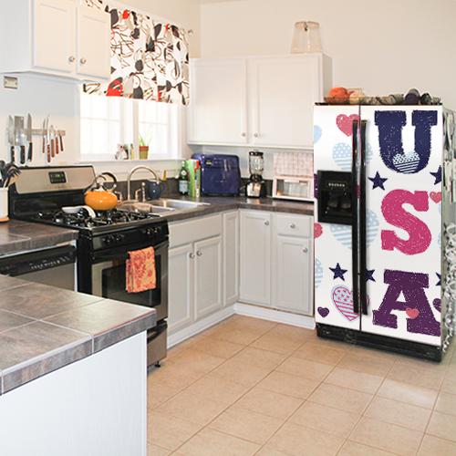 Réfrigérateur américain avec sticker