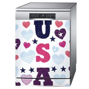 Sticker USA posé sur un lave-vaisselle