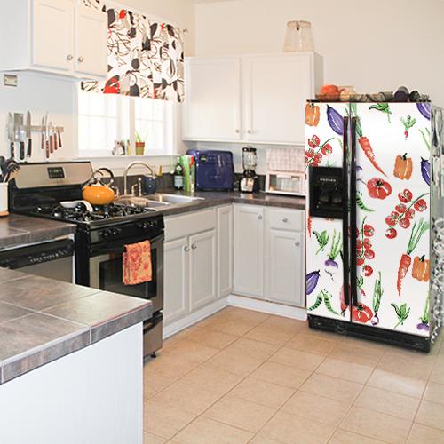 Cuisine équipée avec sticker pour réfrigérateur américain