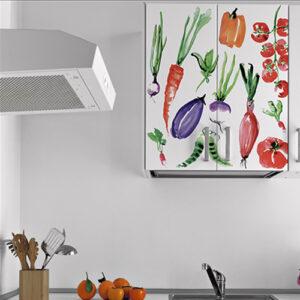 """Sticker """"Légumes aquarelle"""" sur placard suspendu"""