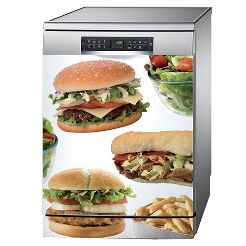 Autocollant fast food décoration pour lave vaisselle en inox moderne
