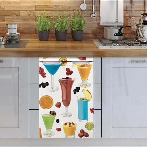Cuisine moderne avec sticker pour mini réfrigérateur