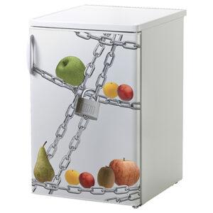 """Adhésif décoratif """"Régime"""" sur mini réfrigérateur"""