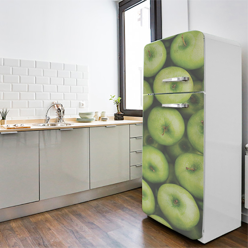Sticker electroménager pour frigo vintage thème pomme verte dans cuisine moderne