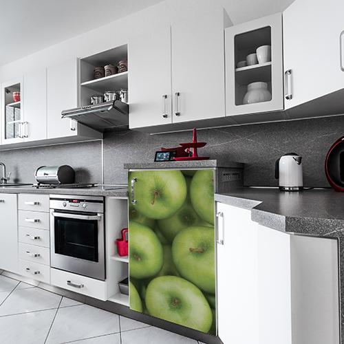 Sticker électroménager pomme lave vaisselle dans cuisine grise tendance
