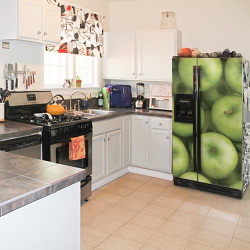 Sticker déco collable cuisine pommes grand frigo américain motif pommes dans cuisine moderne