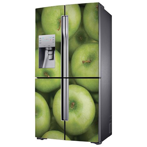 Sticker cuisine thème pommes vertes pour frigo américain de couleur grise