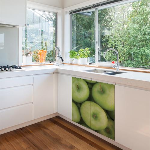 sticker electromenager pommes dans cuisine lumineuse