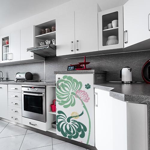 Sticker cuisine fleurs lave vaisselle dans cuisine en marbre