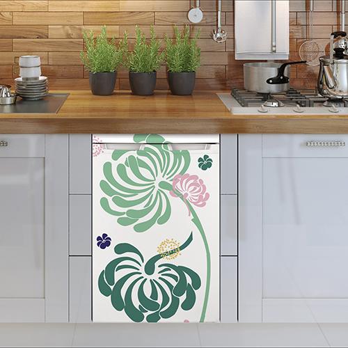 Sticker cuisine fleurs lave vaisselle dans cuisine actuelle