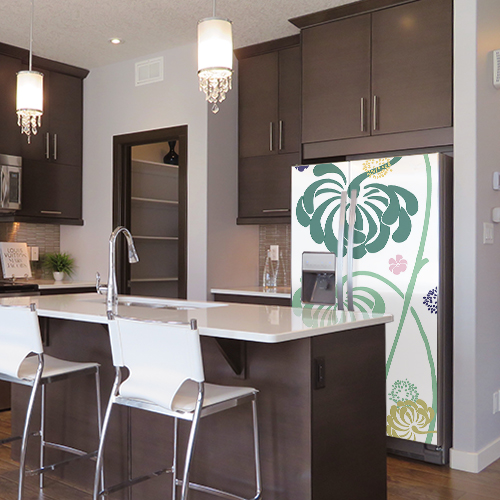Sticker fleur frigo américain dans cuisine moderne