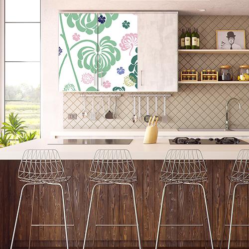 Sticker à fleurs pour placards dans une cuisine vintage