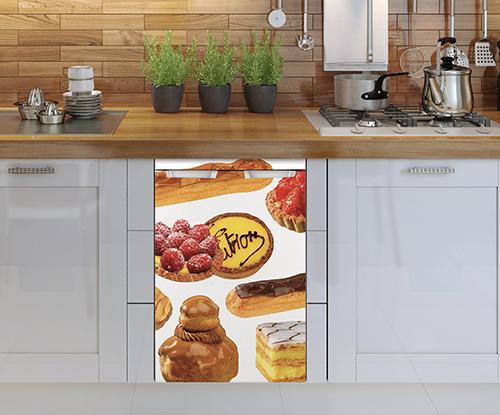 Sticker patisserie pour lave vaisselle dans une cuisine simple
