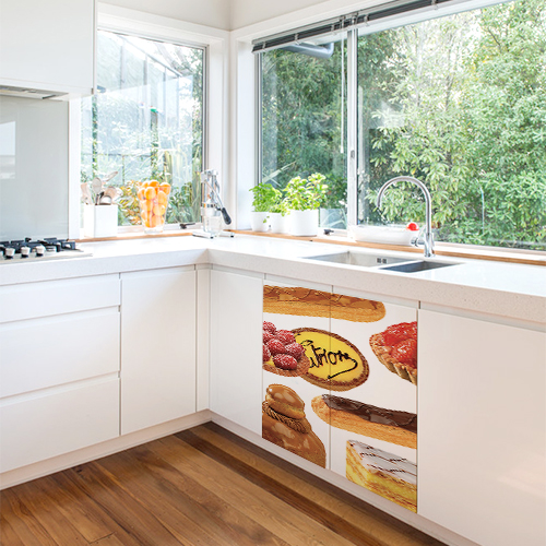 Sticker patisseries pour placards d'une cuisine blanche