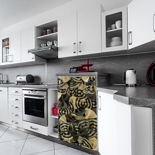 Sticker pâtes pour placards dans une cuisine de marbre blanc et gris