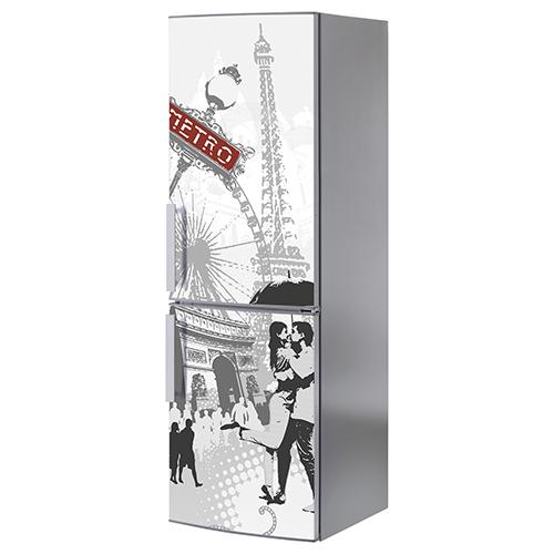 Sticker Paris posé sur un grand frigo gris inox déco pour cuisine