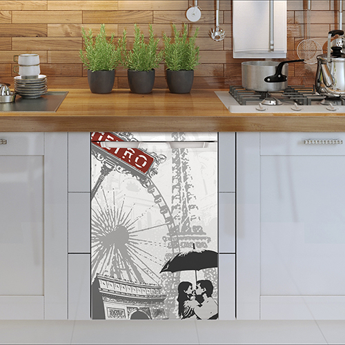 Sticker adhésif pour petit frigo sous un plan de travail