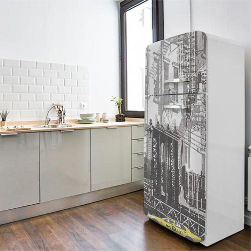 Sticker autocollant New York dans une cuisine avec un frigo classique