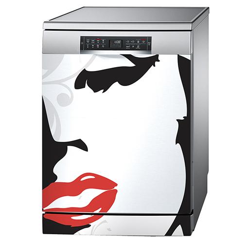 Sticker autocollant Marilyn collé sur un lave-vaisselle