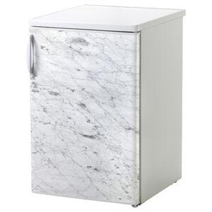 Sticker déco pour petit frigo blanc Marbre