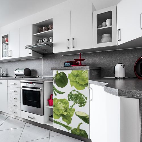 Sticker Legumes Potager dans une cuisine moderne sur un ton noir et blanc