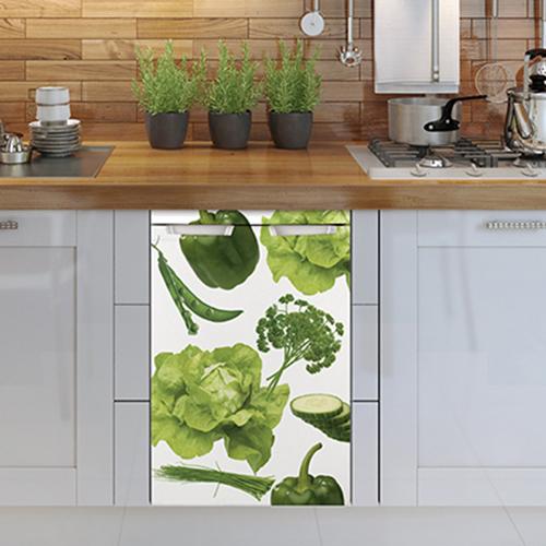 Sticker autocollant pour petit frigo Legumes Potager en dessous d'un plan de travail