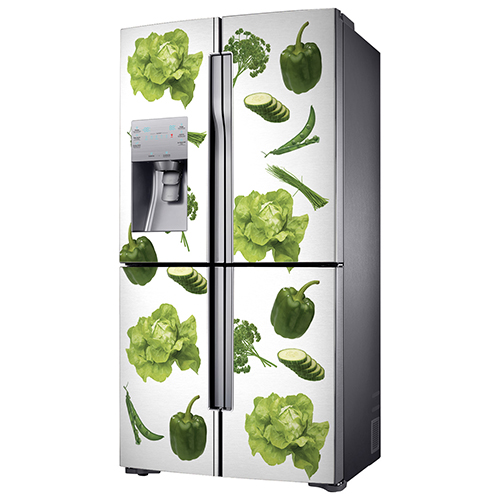 Sticker Légumes potager posé sur un frigo américain
