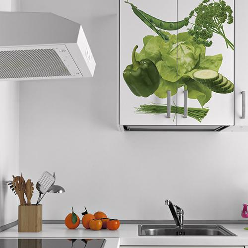 Autocollant déco de placard de cuisine légumes verts