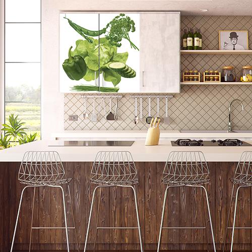 Sticker adhésif légumes verts deco de cuisine en bois placards hauts