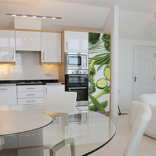 Autocollant décoration de cuisine blanche pour frigo légumes verts