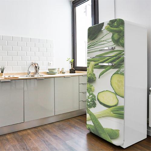 Adhésif pour décoration de frigo moderne en inox légumes verts