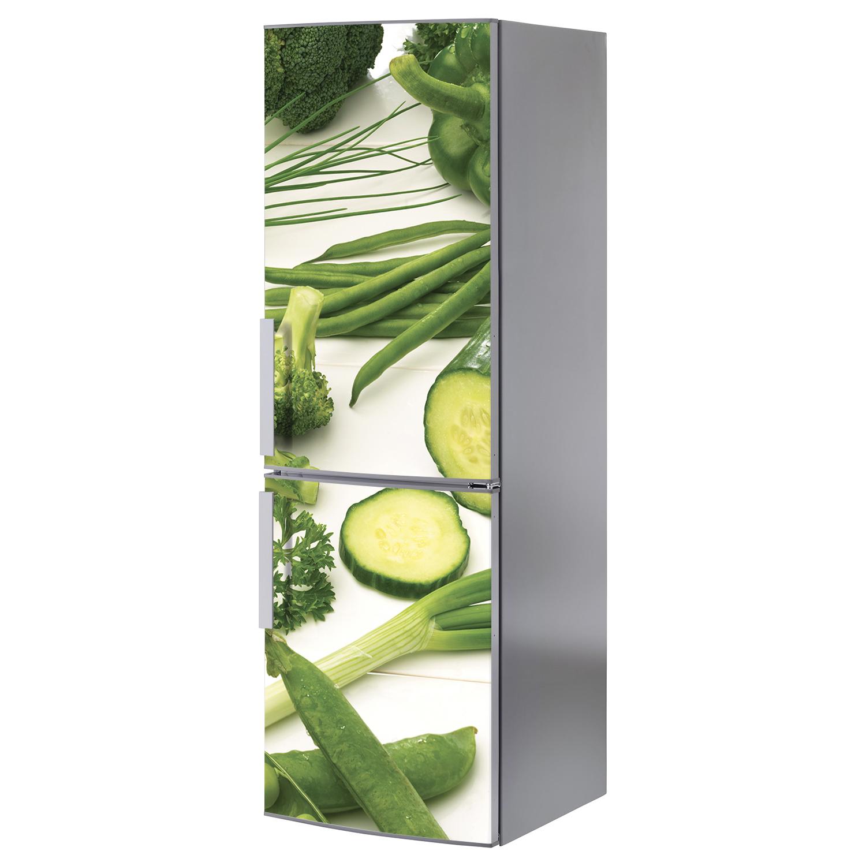Sticker légumes verts décoration légumes verts pour frigo en inox