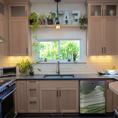 Sticker autocollant déco lave vaisselle vert légumes pour cuisine en bois