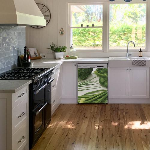 Adhésif pour cuisine blanche vert légumes pour déco de lave vaisselle