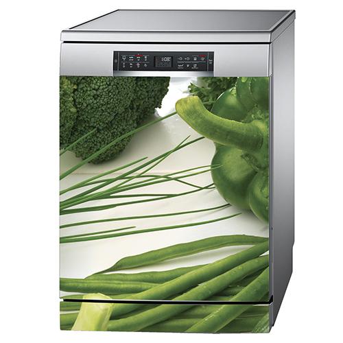Adhésif légumes verts pour décoration de lave vaisselle en inox gris
