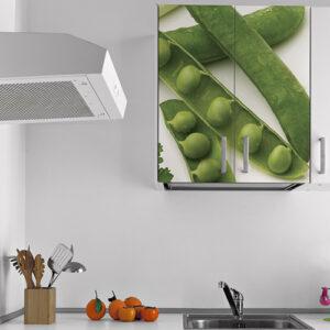Sticker autocollant légumes verts haricots pour déco de placard de cuisine blanche moderne