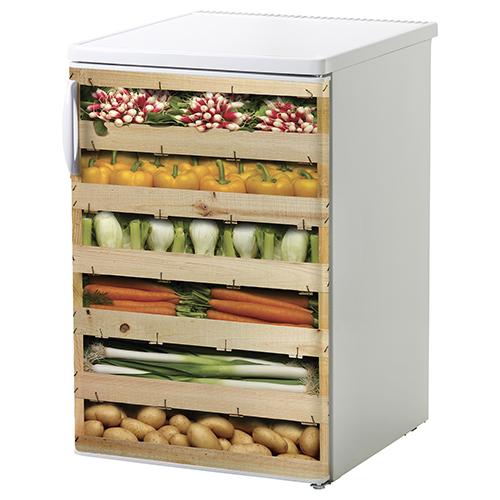 Adhésif caisses de légumes colorés pour déco lave vaisselle ou frigo blanc