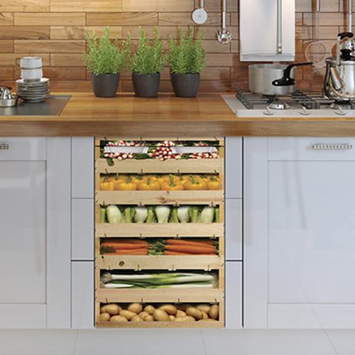 Adhésif décoration cuisine en bois cagette de légumes pour lave vaisselle