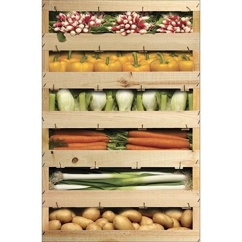 Sticker adhésif caisses de légumes pour décoration cuisine