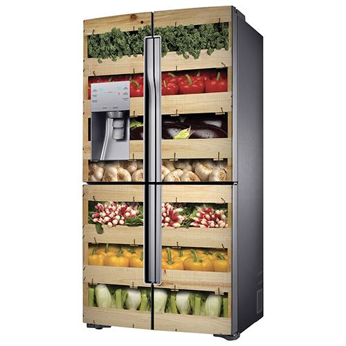 Adhésif décoration coloré caisses de légumes pour grand frigo en inox gris