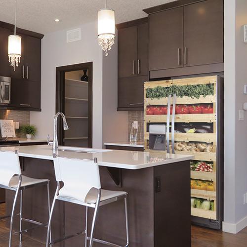 Autocollant pour grand frigo caisses de légumes pour décoration de cuisine