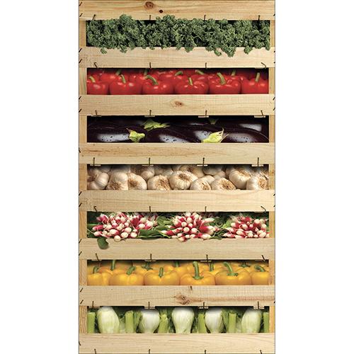 Sticker autocollant coloré caisses de légumes pour déco frigo